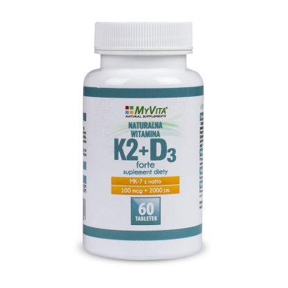 Witamina K2-MK7 + D3 Forte –MyVita, 60tabletek,120tabletek