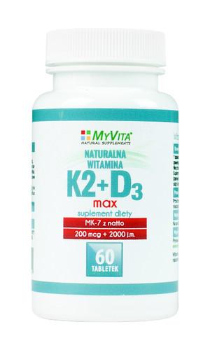 Witamina K2 200mcg + D3 2000iu MAX – 60 tabletek