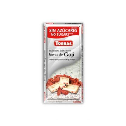 Czekolada biała z jagodami goji bez cukru –Torras, 75g