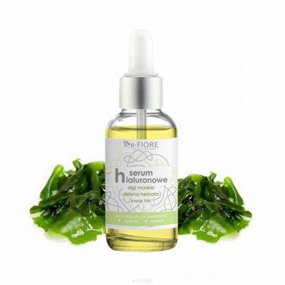 Naturalne SERUM HIALURONOWE Przeciwzmarszczkowe z Algami i Zieloną Herbatą –Fiore, 30ml