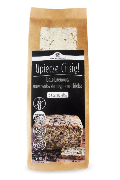 Mieszanka chleba bezglutenowego z czarnuszką –PięćPrzemian, 500g