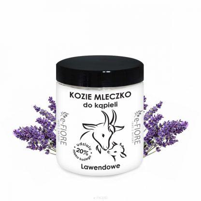 Kozie mleko do kąpieli z kolagenem, pantenolem, olejkiem jojoba LAWENDOWE –Fiore, 400g