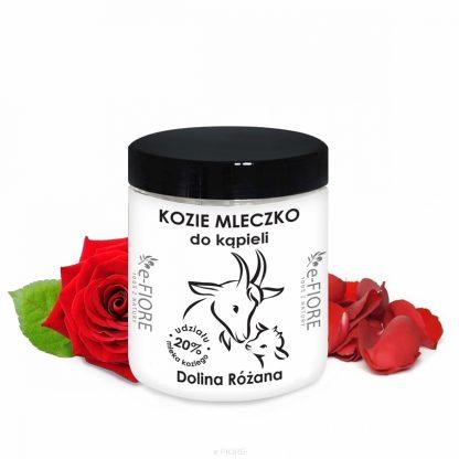 Kozie mleko do kąpieli z kolagenem, pantenolem, olejkiem jojoba DOLINA RÓŻANA –Fiore, 400g
