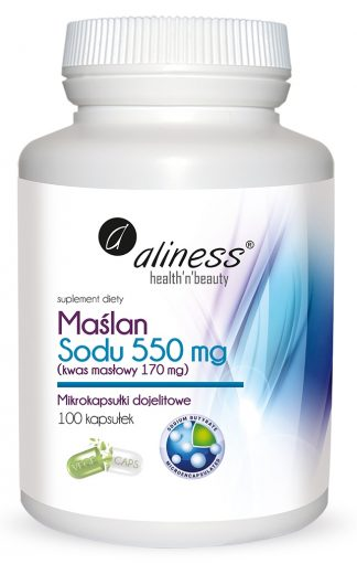 Maślan Sodu 550 mg (Kwas masłowy 170 mg) x 100 VEGE kaps. –Aliness, 100kapsułek